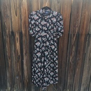 Angie Fit And Flare Scrunched Sleeves Floral Dress